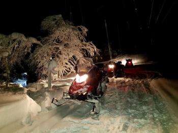 night snowmobile experience